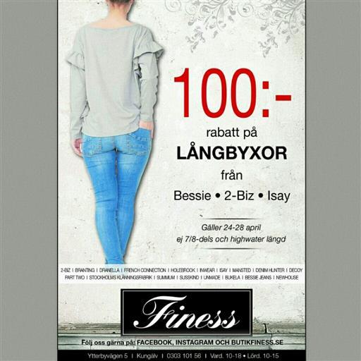100:- Rabatt på långa byxor från.....