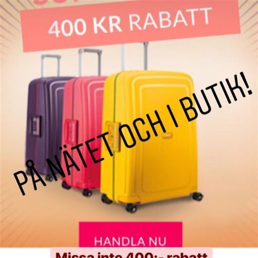Rabatt på resväskor!